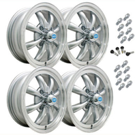 VW BUG GHIA EMPI GT-8 WHEEL SET OF 4 WITH LUGS 5.5 X 15 SILVER POL/LIP 4x130