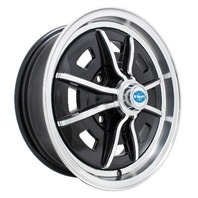 EMPI SPRINTSTAR  WHEELS 5 X 15  4X130 BUG GHIA TYPE 3 BLACK/POLISH