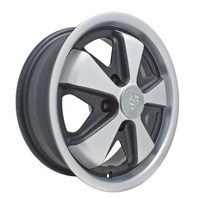 EMPI VW BUG BUS GHIA 911 ALLOY WHEELS 15X4-1/2, 5-130  BLACK/SILVER