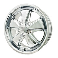 EMPI VW BUG BUS GHIA 911 ALLOY WHEELS 17X7, 5-130 PATTERN ALL CHROME 9738