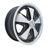 EMPI VW BUG BUS GHIA 911 ALLOY WHEELS 17X7, 5-130 PATTERN BLACK/SILVER 9739