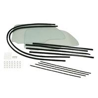 Vw Bug 58-64 ONE PIECE WINDOW KITS W/SNAP-IN SCRAPERS 9780