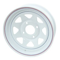 "VW BUG BAJA WHITE SPOKE STEEL WHEELS 4 LUG 15X10""  2"" BACK SPACE  10-1006"