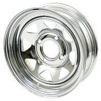 "VW BUG BAJA CHROME SPOKE STEEL WHEELS 4 LUG 15X8""  2"" BACK SPACE  10-1011"