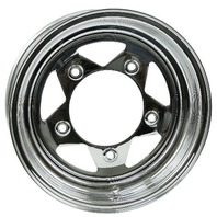 "VW BUG BAJA CHROME SPOKE STEEL WHEELS 5 LUG 15X10"" 3-1/2"" BACK SPACE  10-1024"