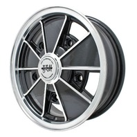 EMPI BRM Rim 17X7 wheel Black w/Polished Lip, Late Bus Type  2 , 5-112