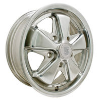 EMPI VW BUG BUS GHIA 911 ALLOY WHEEL 15X6, 5-130 PATTERN, POLISHED 10-1103, EACH