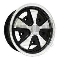 EMPI VW BUG BUS GHIA 911 ALLOY WHEEL 15X4-1/2, 5-205  BLACK WITH POLISHED, EACH