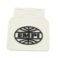 VW BusType 2 , EMPI Vintage Style Mud Flaps, White w/ Black Logo,Pair 15-1093
