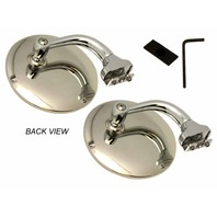 "STREET ROD 4"" STAINLESS STEEL UNIVERSAL PEEP MIRROR L OR R DOOR EDGE CHROME PAIR"