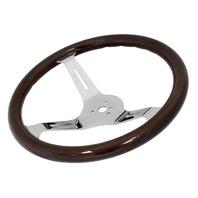 "VW Bug Ghia EMPI Dark  Wood Steering Wheel , 380mm Diametr w/31mm Grip,3"" Dish"