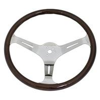 "VW Bug Ghia EMPI Dark  Wood Steering Wheel , 380mm Diametr w/23mm Grip,3"" Dish"