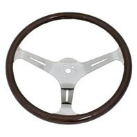 "VW Bug Ghia EMPI Dark  Wood Steering Wheel , 380mm Diametr w/23mm Grip,3"" Dish"