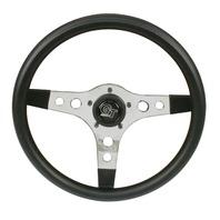 "VW Bug, Ghia Steering Wheel 13"" 3-1/2 Dish 3 Spoke Chrome Foam Grip 79-4031"