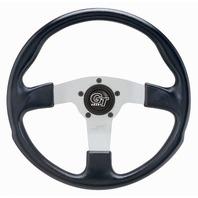 "VW Bug Ghia Steering Wheel 13"" 3"" Dish 3 Spk. Molded Grip Slvr Anodize 79-4033"