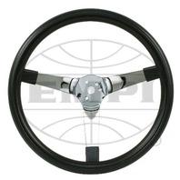 "EMPI Steering Wheel, CHROME 3-SPOKE,SOLID, 14-3/4 DIA, 4"" DISH VW BUG BAJA BUGGY"