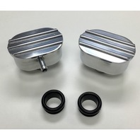 Hot Rod Polished Oval Finned Aluminum PCV & Valve Cover Breather Kit W/ Grommet