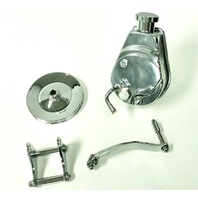 SBC Chevy Chrome Saginaw Style Power Steering Pump w/ Bracket & Chrome Pulley