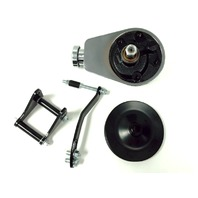 SBC Chevy SB Chrome Saginaw Power Steering Pump w/ Black Bracket & Pulley Kit