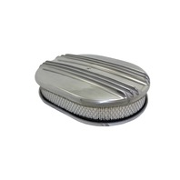 "12"" Classic Finned Polished Aluminum Oval Air Cleaner w/ Washable Filter Chevy Ford V8"