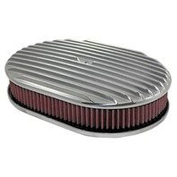 "12"" Full Finned Polished Aluminum Oval Air Cleaner w/ Washable Filter Chevy Ford V8"