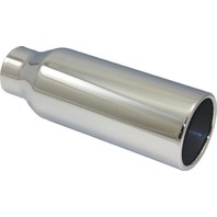 "Stainless Steel  Rolled Edge Exhaust Tip 2.25"" Inlet - 3.5"" Outlet - 10"" Long"