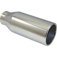 "Stainless Steel  Rolled Edge Exhaust Tip 2.5"" Inlet - 4"" Outlet - 10"" Long"