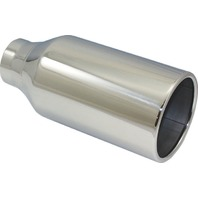 "Stainless Steel  Rolled Edge Exhaust Tip 2.5"" Inlet - 4.5"" Outlet - 10"" Long"
