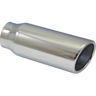 "Stainless Steel  Rolled Edge Exhaust Tip 2.25"" Inlet - 3"" Outlet - 8"" Long"
