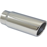 "Stainless Steel  Rolled Edge Exhaust Tip 2.5"" Inlet - 3"" Outlet - 8"" Long"