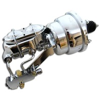 """7"""" Chrome Dual Power Booster + Dual Bail Master Cylinder Disc/Drum Kit"""