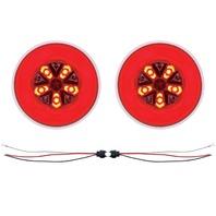 "(2) 18 Led 4"" Round ""Glo"" Light - Red Led / Red Lens - Universal Trailer Truck RV"
