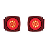 (2) Trailer Truck Square 22 LED Red Combination GLO Lights - Driver/Passenger Pr
