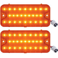 (2) 1967 1968 Chevrolet GMC Truck LED Park Light - Amber Lens w/ Amber LED, Pair