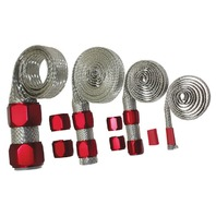 Stainless Braided Engine/Vacuum/Fuel/Heater/Oil Line Hose Sleeve Dress Up Red Kit