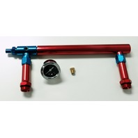 Aluminum Holley 4150 Double Pumper Fuel Line Log Red Blue Anodize w/ Black Gauge