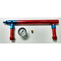 Aluminum Holley 4150 Double Pumper Fuel Log Red Blue Anodized w/ White Oil Gauge