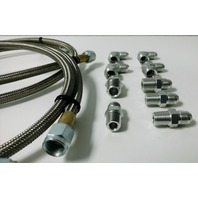 "Transmission Cooler 48"" Hose Kit - Single / Dual Pass - Flexible Stainless Steel"