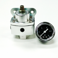 "5-12 PSI Aluminum Adjustable Fuel Regulator w/ Black Gauge - 3/8"" NPT Ports"
