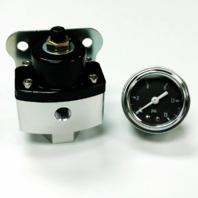 "5-12 PSI Aluminum Adjustable Fuel Regulator Black w/ Black Gauge 3/8"" NPT Ports"
