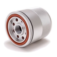 "Billet Aluminum Reusable Magnetic Oil Filter - 3.11"" Tall 2.7"" Dia. 3/4-16 Thread"