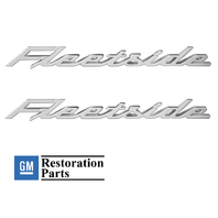 (2) 1958-1959 Chevy Fleetside Rear Bed Script Chrome Emblems