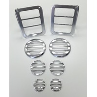 2007-15 Jeep Wrangler JK Silver Billet 8 Piece Light Cover Kit