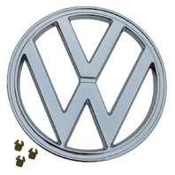 "FRONT EMBLEM, CHROME, WITH CLIPS, 72-79 VW TYPE 2 BUS, 7"" (182MM) 241-853-601E"