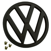 "FRONT EMBLEM, BLACK, WITH CLIPS, 72-79 VW TYPE 2 BUS, 7"" (182MM) 211-853-601EB"