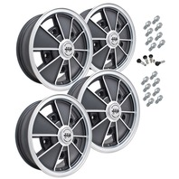 9675 EMPI BRM STYLE WHEEL PACKAGE, 5-LUG VW BUG, BUS,  BEETLE, 4PC SET, MATTE BLACK, 15 X 5, 5 ON 205 MM