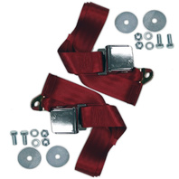 "(2) VW Bug Air Cooled, 2-Point Aviation Style Lap Seat Belts, RED,  72"" Pair"