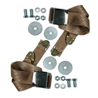 "(2) VW Bug Air Cooled, 2-Point Aviation Style Lap Seat Belt, TAN,  72"" PAIR"