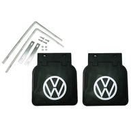VW BUG MUD FLAPS,PAIR  1950-ON, FITS ALL BUGS, BLACK WITH BRACKETS 111821805B