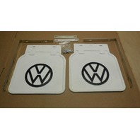VW BUG MUD FLAPS,PAIR  1950-ON, FITS ALL BUGS, WHITE WITH BRACKETS 111821805W
